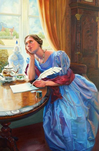 victorian lady writing a letter